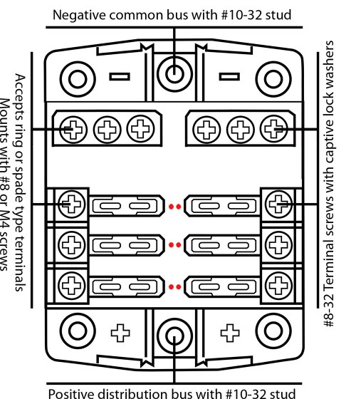 small resolution of 6 fuse outlets 100 amps maximum per fuse block 30 amps maximum per individual fuse provision for holding 2 spare fuses common negative and common positive