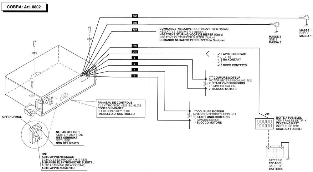 COBRA IMMOBILISER ART 0802 инструкция по установке