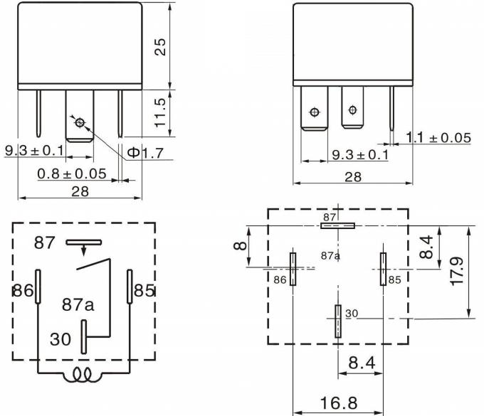 4 Pin Automotive Relay 12v 40a Double Contacts With Led