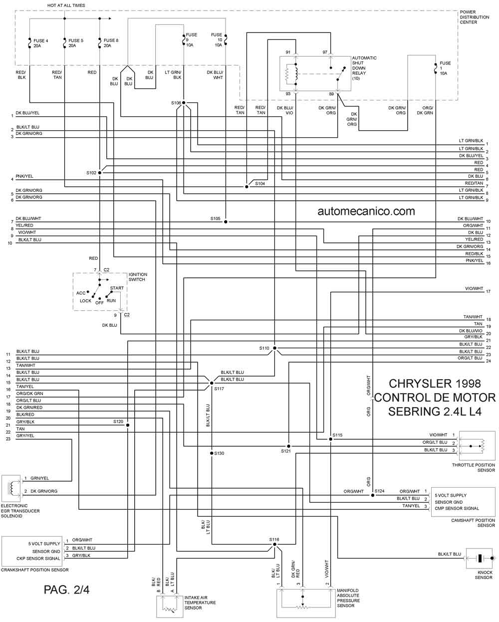 Diagrama Electrico De Un Dodge Stratus 1998. Dodge. Auto