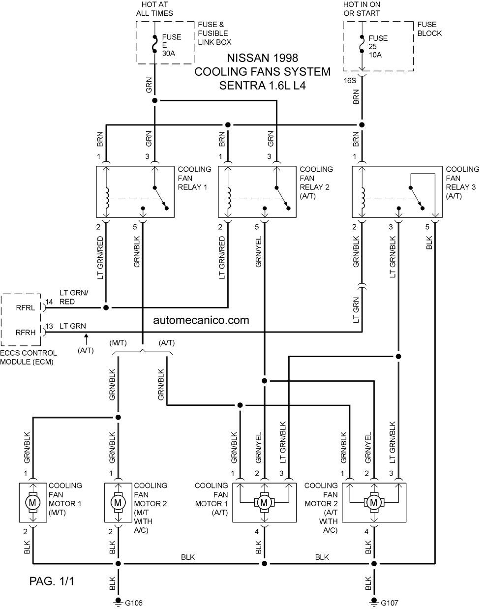2005 Ford Focus Fuel System Diagram Nissan Cooling Fans System Diagramas Ventiladores