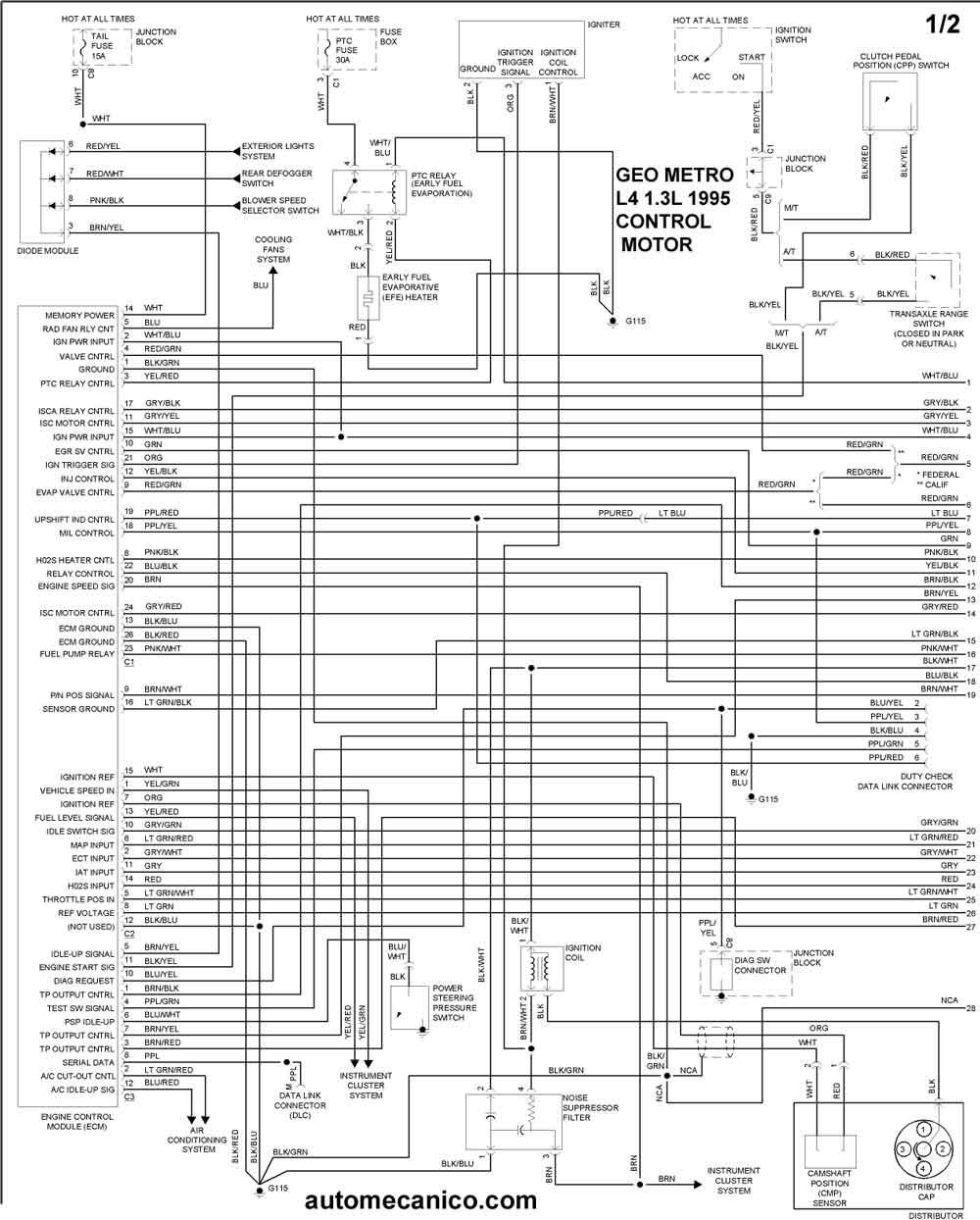 geo metro wiring diagram honeywell thermostat anleitung 1995 - diagramas control del motor graphics esquemas   vehiculos motores componentes ...