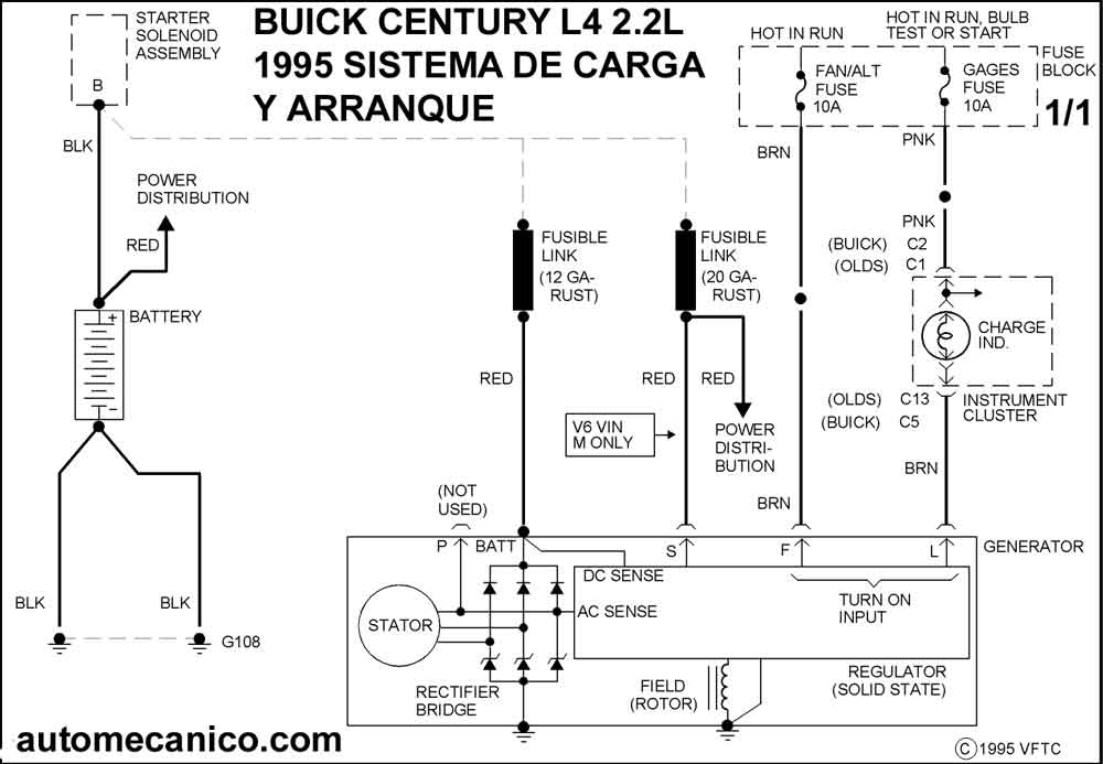 buick diagrama de cableado de alternador