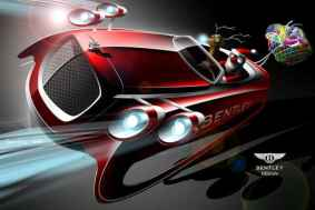 Ilustração digital do Papai Noel em um trenó futurista com linhas de desenho da Bentley, feito pela Bentley