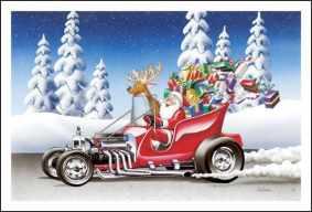 Papai Noel, uma rena e muitos presentes, dirigindo um Hotrod, ilustração