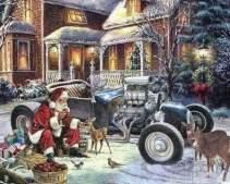 Uma linda ilustração antiga mostrando o Papai Noel alimentando pequenos cervos ao lado do seu hotrod