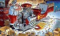 Ilustração do Papai Noel ajustando o enorme motor de seu trenó caracterizado como um hotrod