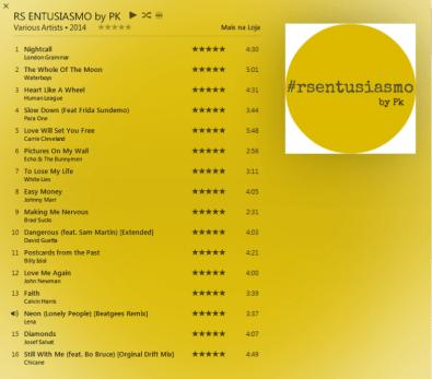 A trilha sonora do PK compilada especialmente para a viagem.
