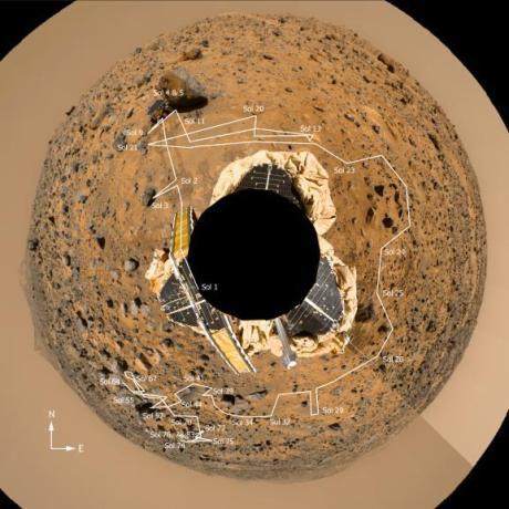 Foto de 360 graus em torno da sonda Pathfinder mostrando a trajetória de pesquisa do rover Sojourner (Fonte: NASA)