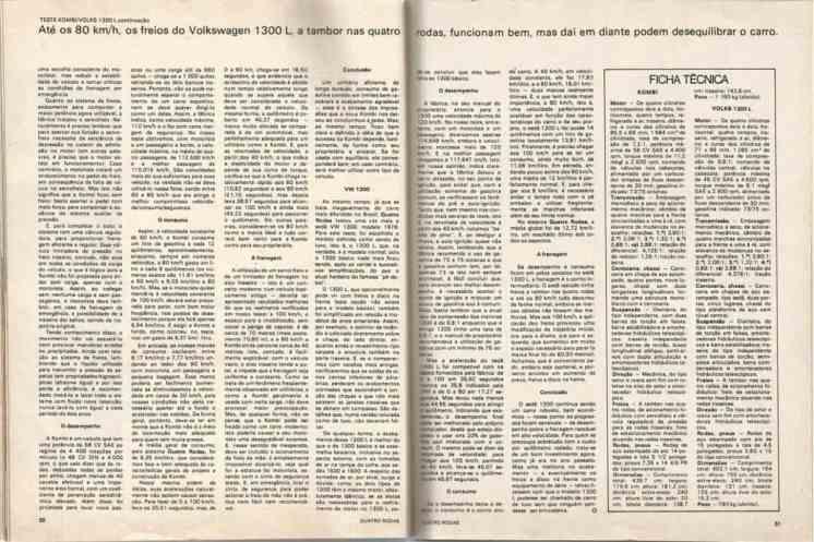Revista Quatro Rodas, edição de novembro de 1975. Teste da Kombi 1600 e do VW 1300-L