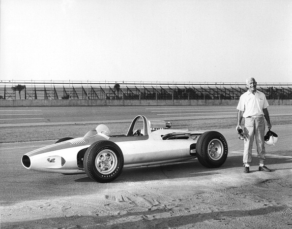 DAYTONA BEACH, FL ? Early-1960s: General Motors Corporation engineer Zora Arkus-Duntov stands next to the CERV-1 or Chevrolet Experimental Research Vehicle, on pit road at Daytona International Speedway. The car was used to help in the development of rear-engine technology for passenger cars. (Photo by ISC Images & Archives via Getty Images)