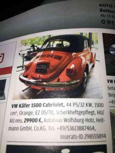 O Fusca conversível 1500 que teve sua lacração inicial feita em maio de 1975. Em ambos os anúncios é indicado o vendedor: Autohaus Wolfsburg-Hotz, Heitmann GmbH, Co.KG