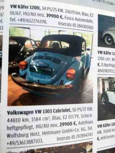 Já o azul, um VW 1303 ano 1979, portanto um Super Beetle, teve sua primeira lacração feita em setembro de 1979
