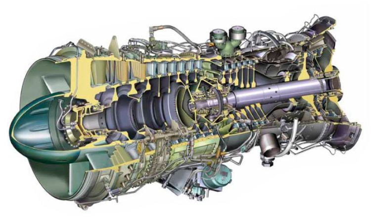 Versão industrial do motor Rolls Royce RB211, que equipou o Boeing 757. Observem que neste caso, o objetivo é extrair potência no eixo. (http://www.directindustry.com/)