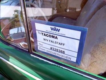 """O """"Ervilha"""" já devidamente etiquetado para o transporte até Tacoma, EUA"""