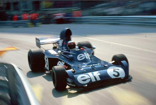 O último campeonato, em 1973, Tyrrell 003, aqui em Mônaco