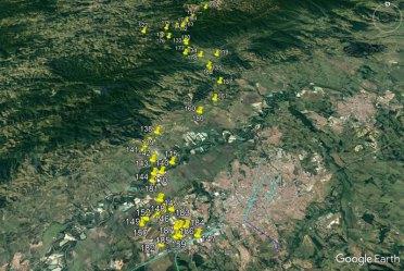 Os pontos plotados sobre o Google Maps que mostram o estudo feito para emitir a planilha deste rali (Fonte: Paulo Animau)