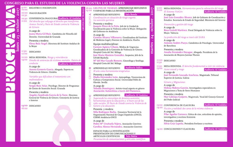 Progrma del 8º Congreso para el Estudio de la Violencia Contra las Mujeres