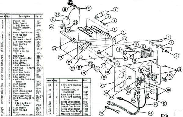 Autoflo X-15A Steam Humidifier Parts