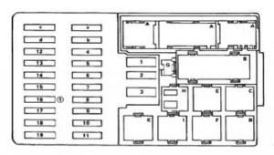 Mercedes E class w123  300D (1987)  fuse box diagram