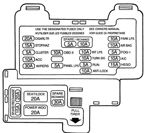 integra wiring diagram 12 volt solar system mercury cougar 7th generation (1989 - 1997) fuse box auto genius