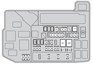 Toyota Auris Hybrid mk1 (2011  2012)  fuse box diagram