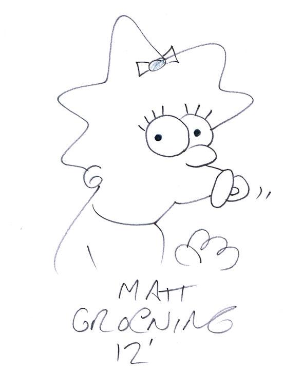 Matt Groening Autograph Signed Maggie Simpson Cartoon