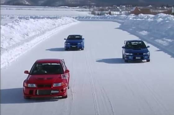 Το Evo 6 TME, το Impreza STI και το Skyline λιώνουν το χιόνι