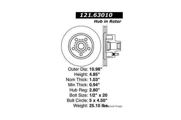 Centric 12163010 Disc Brake Rotor; C-TEK Standard Disc