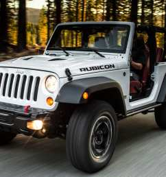 a white 2013 jeep wrangler rubicon is driving  [ 1425 x 905 Pixel ]