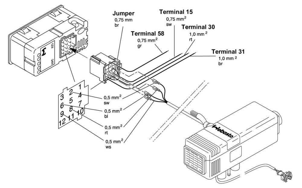 medium resolution of wiring circuit diagram rover 75 webasto air top heater timer 12v or 24v 88206a