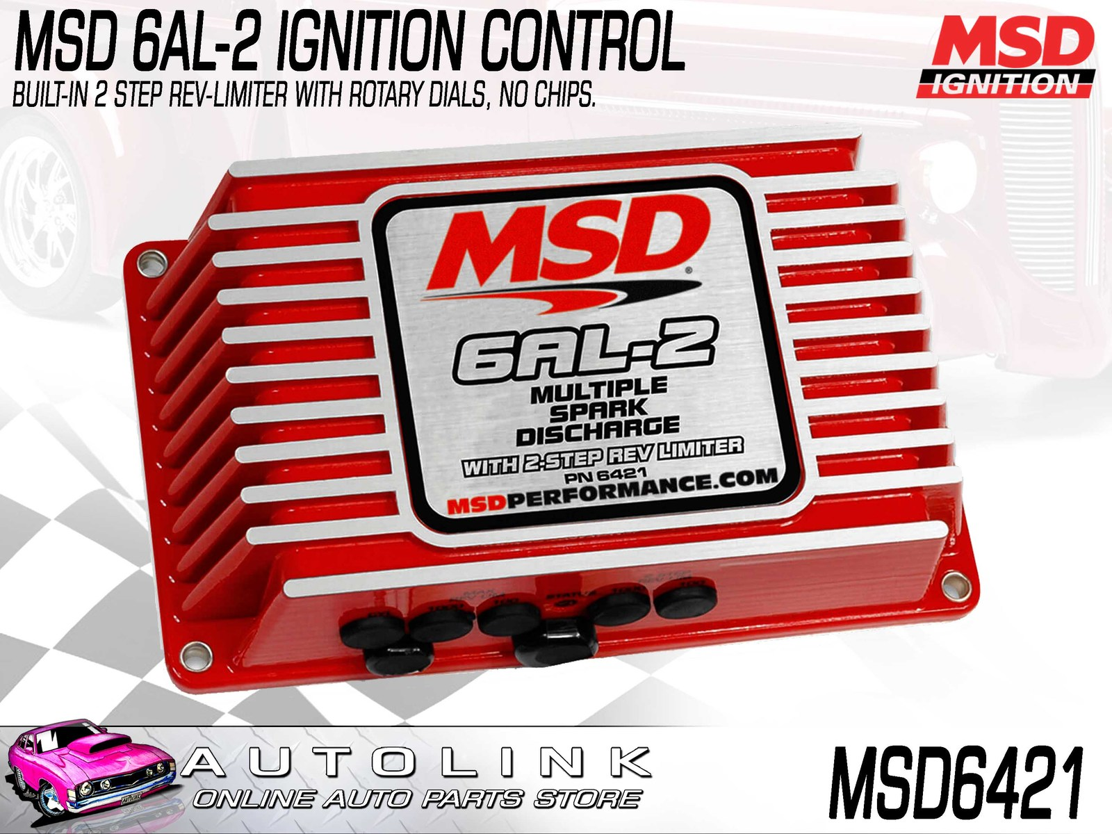 hight resolution of msd 6al 2 ignition control with 2 step rev limiter 535 volt msd6421