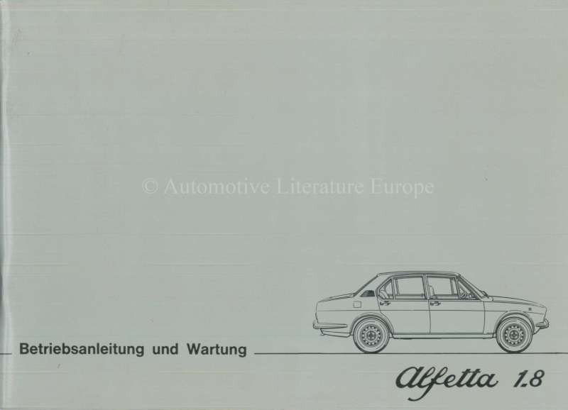 1976 ALFA ROMEO ALFETTA 1.8 OWNERS MANUAL GERMAN