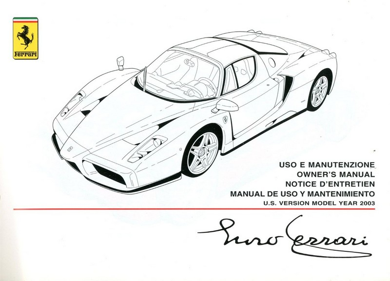 2003 FERRARI ENZO OWNERS MANUAL US VERSION 1856/03