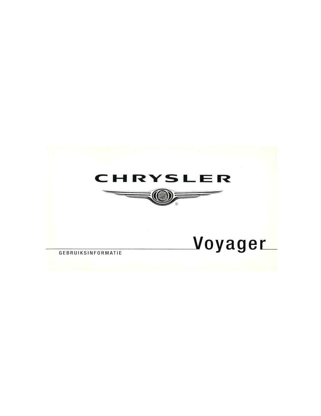 2008 CHRYSLER VOYAGER OWNER'S MANUAL DUTCH