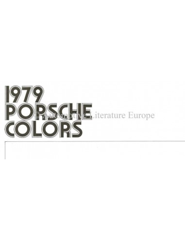 1979 PORSCHE 911SC / 928 / TURBO / 924 COLOURS & INTERIOR