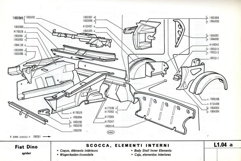1968 FIAT DINO SPIDER ERSATZTEILKATALOG KAROSSERIE