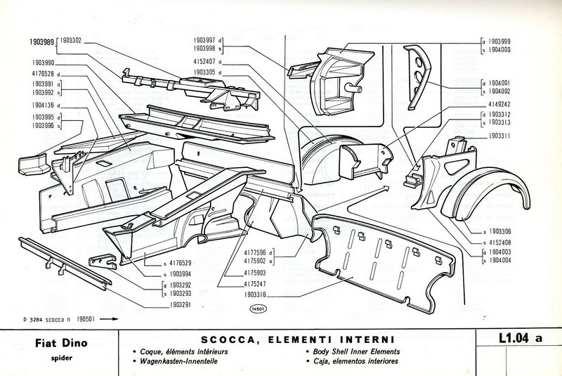 1968 FIAT DINO SPIDER SPARE PARTS BODYWORK CATALOG