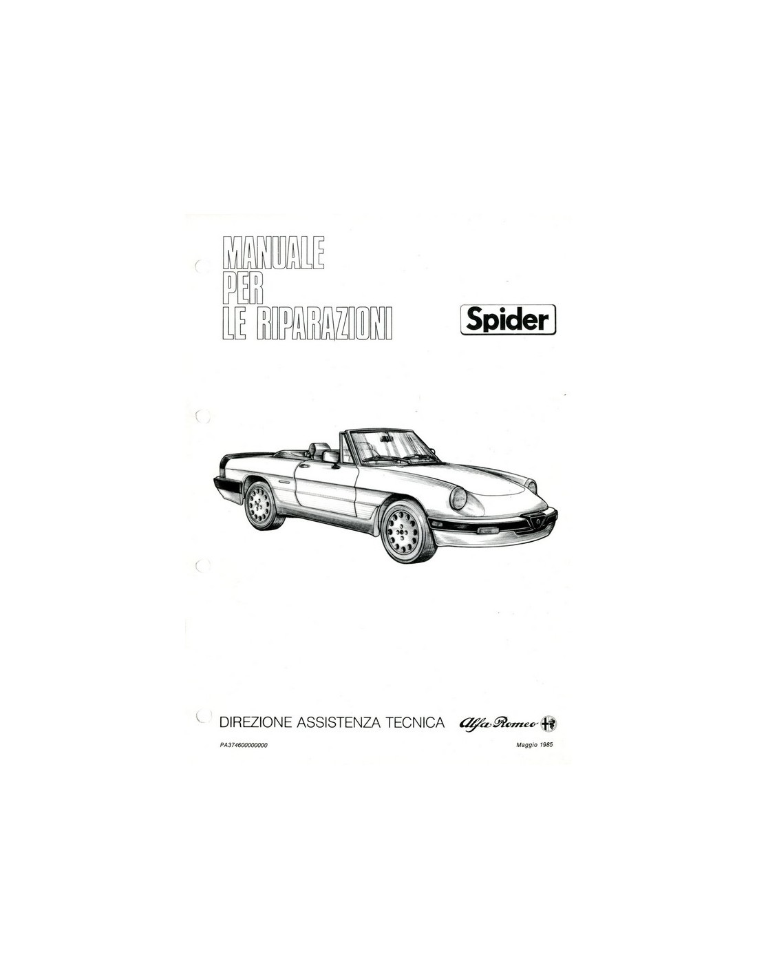 Alfa Romeo Spider Workshop Manual