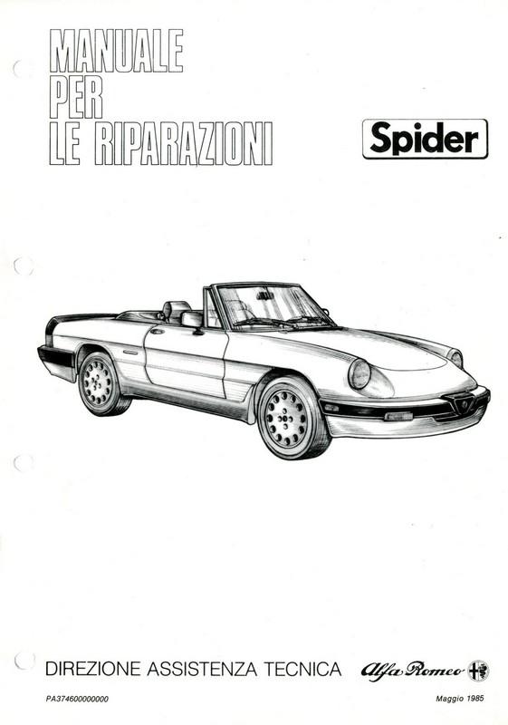 1986 ALFA ROMEO SPIDER QV WORKSHOP MANUAL ITALIAN