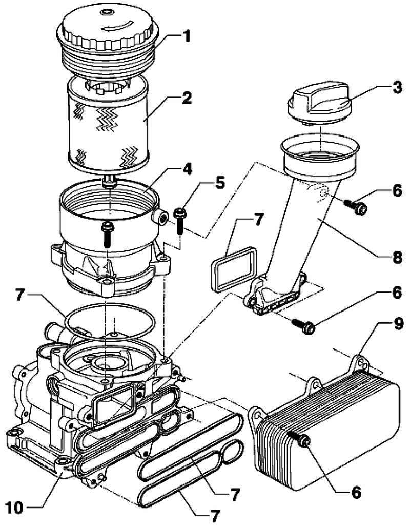 Loosening and screwing the oil filter cap. Volkswagen