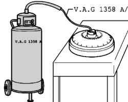 Draining fluid from the torque converter. Volkswagen
