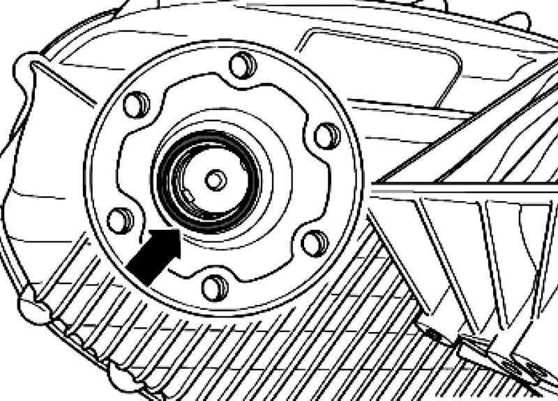 Removing and installing sealing ring flange PTO / PTO