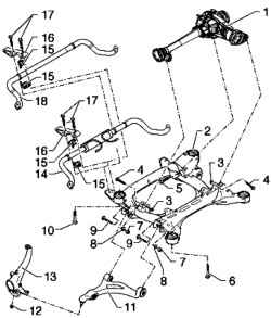 Subframe, stabilizer, lower arm. Volkswagen Touareg (from
