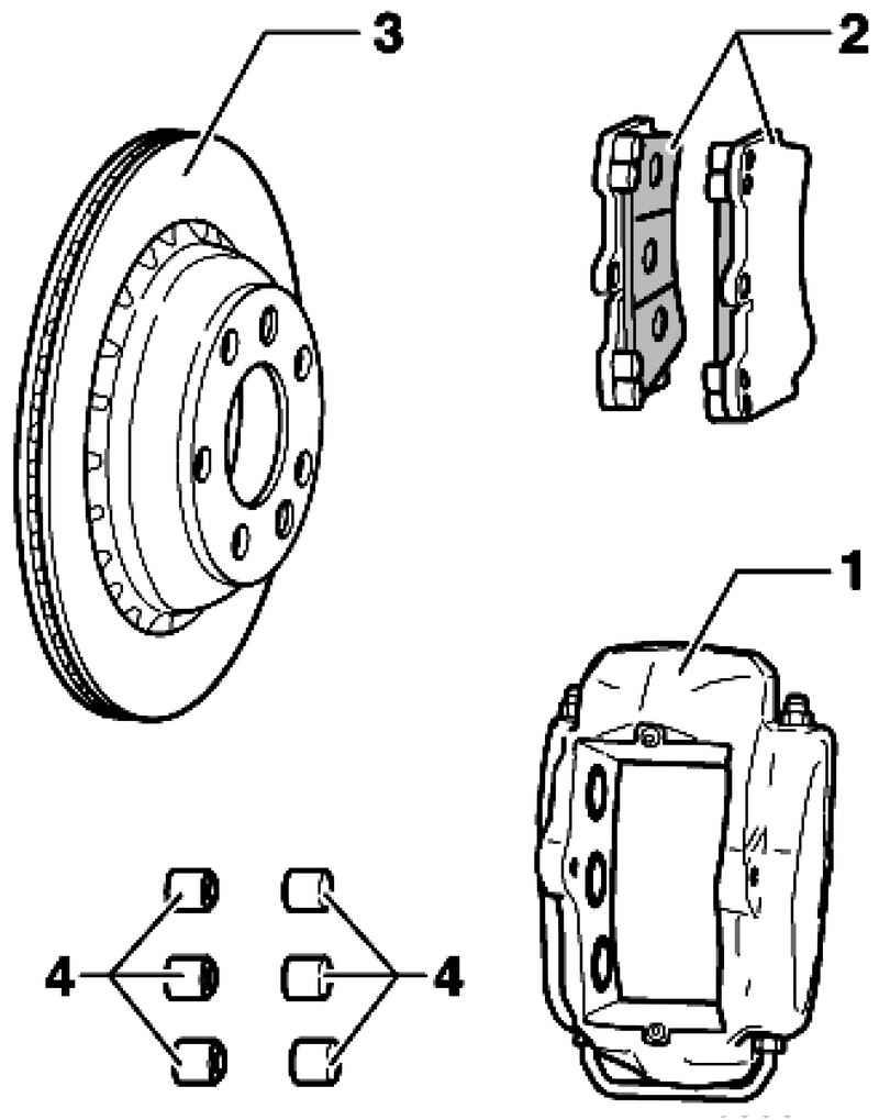 Front brakes. Volkswagen Touareg (from 2003 to 2006, the