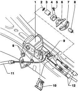 Removal and installation of the lever of the foot parking