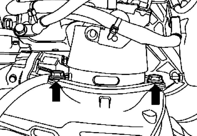 Removing and installing starter (8-cyl. Engine with