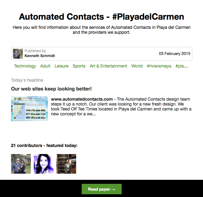 automated contacts Playa del Carmen newspaper