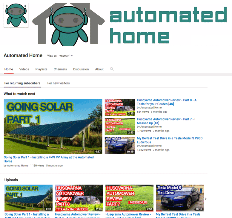 Automated Home - YouTube Channel
