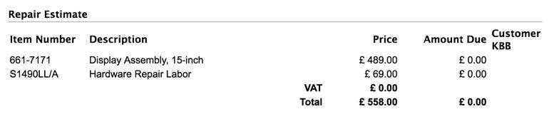 """Apple 15"""" MacBook Retina Display Replacement Cost"""